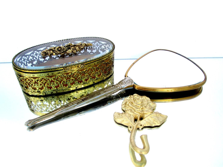 Items Similar To Vintage Matson Rococo Vanity Set: Gold