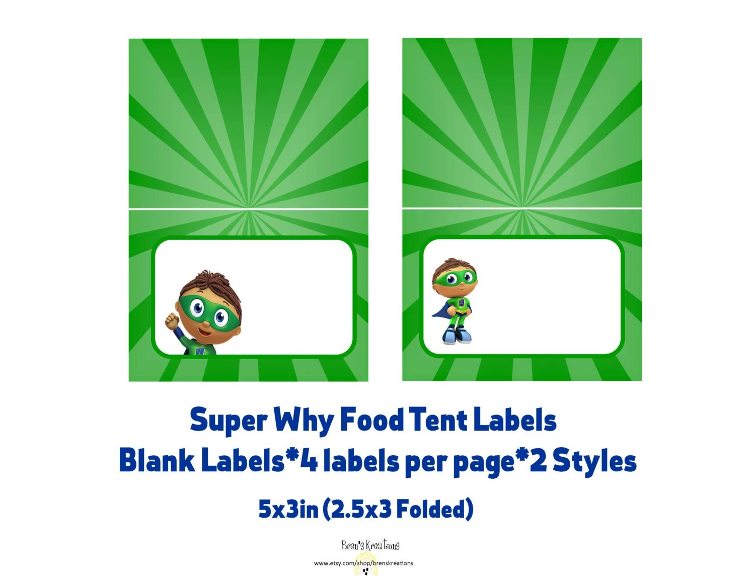 Super Why Blank Food Tent Labels Instant By Brenskreations