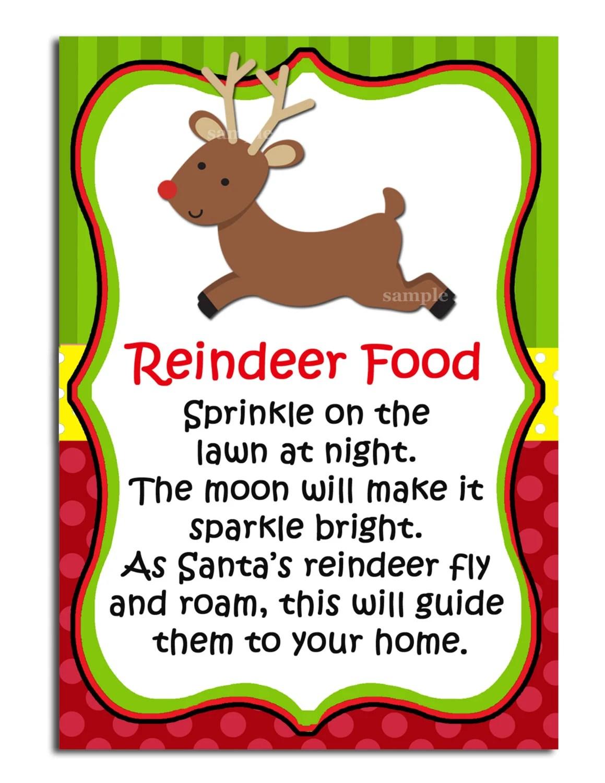 Reindeer Food Printable Labels Instant Download