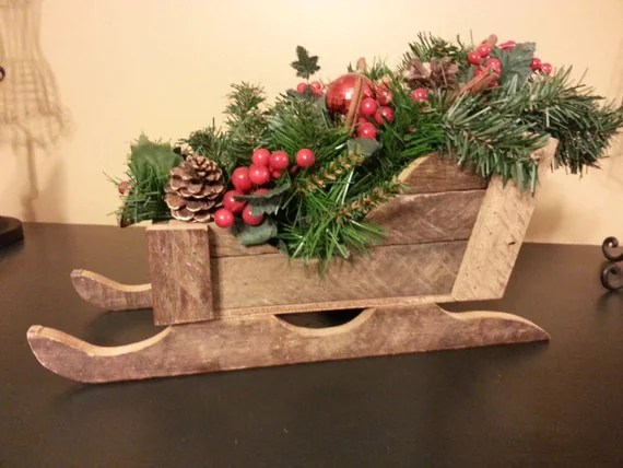 Rustic Wooden Sleigh Barnwood Sleighchristmas Decor Table