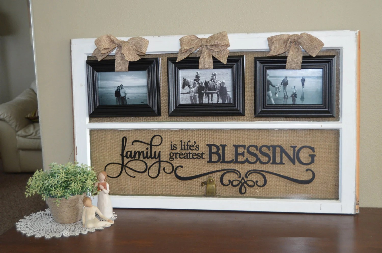 Antique Window Picture Frame With Vinyl