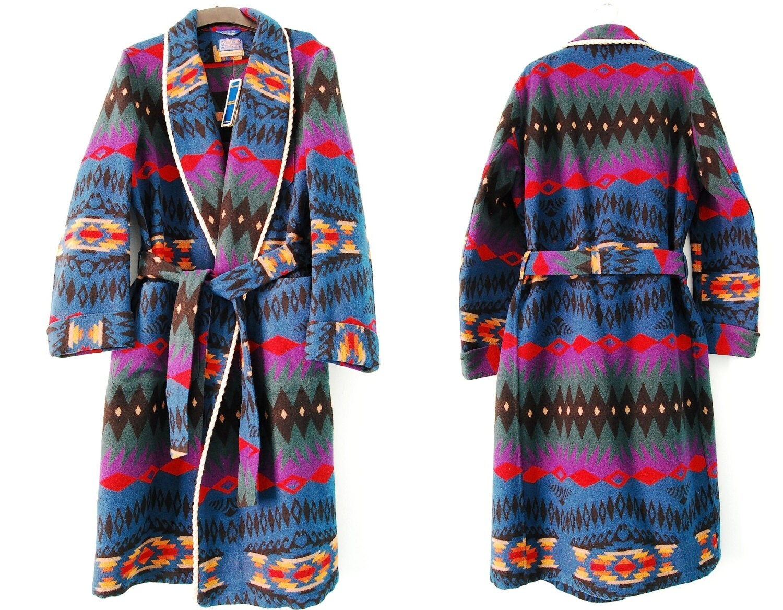 Mens Pendleton Wool Robe Southwestern Lodge Lounge Robe Navajo