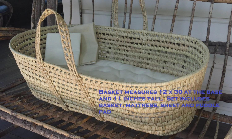 Moses Basket Baby Bassinet Eco Wool Mattress Sheet Puddle Pad