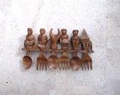 Vintage Folk Art Carved Wood Figural Spoons Forks Kitchen Wall Hanging Folk Art - BlueRoseRetro