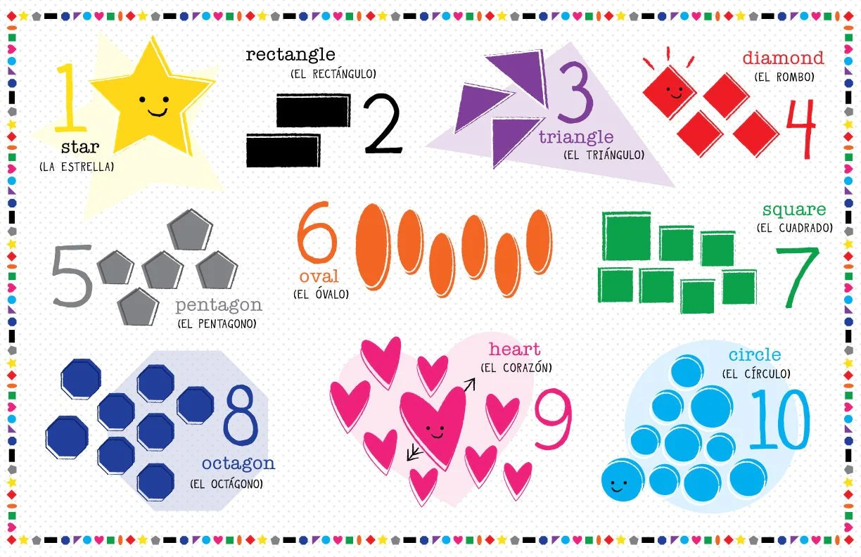 Kids Spanish Or French Shapes And Number Placemat