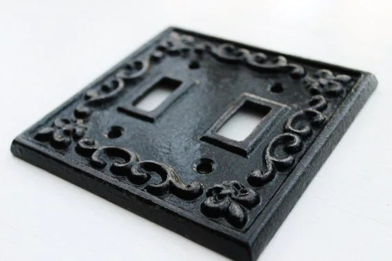 Black Double Light Switch Cover-Plate Cast Iron-Fleur De
