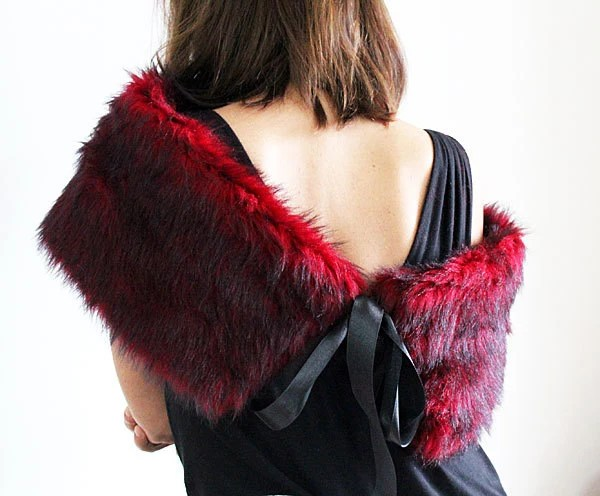 Shrugs  Boleros, Red and Black Fur Shrug, Faux Fur Shawl, Shoulder Wrap, Polyester faux fur Shawl , party, Christmas gift Women - aynurdereli