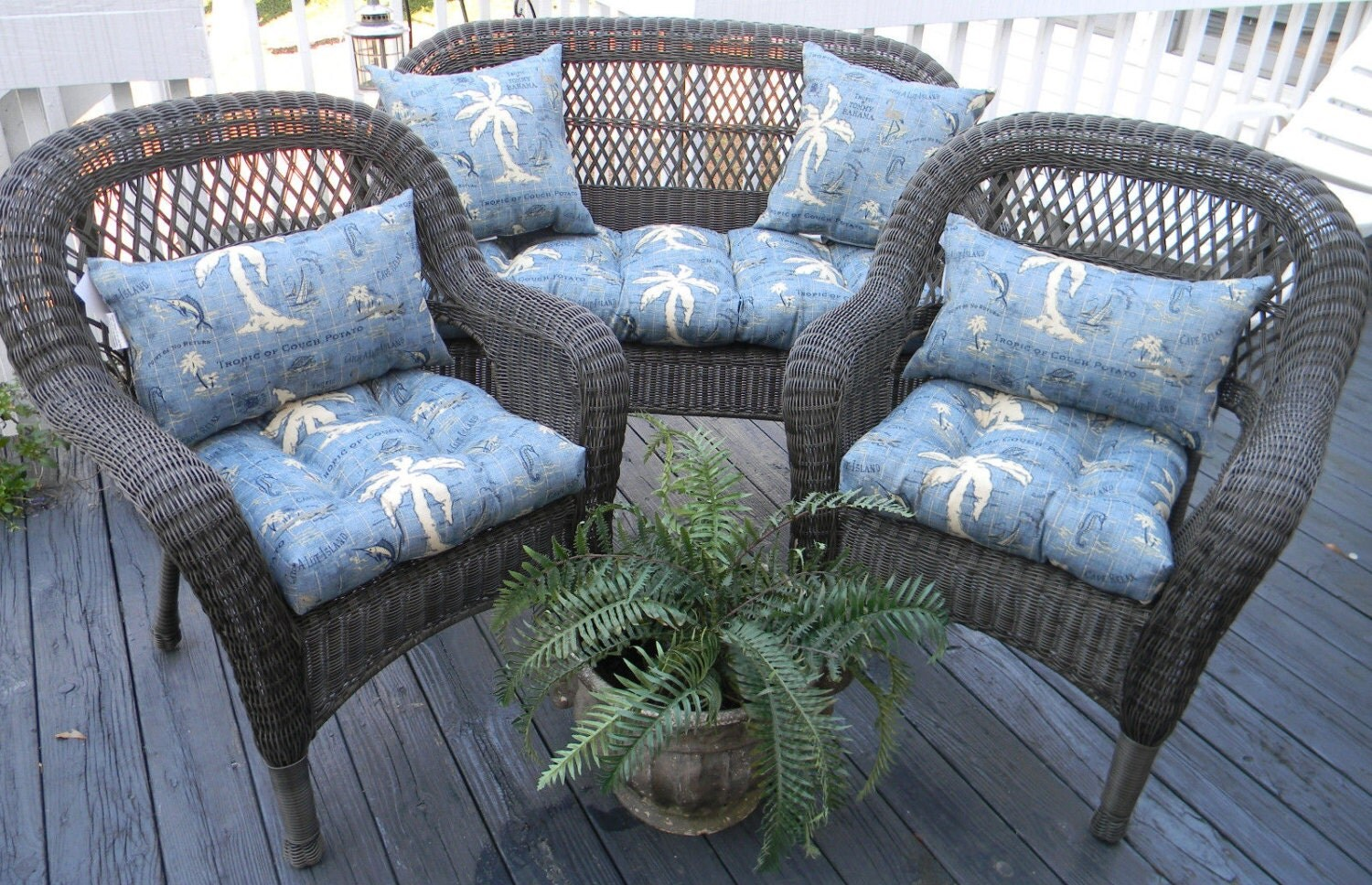Wicker Cushion And Pillow 7 Pc Set Tommy Bahama Fabric Blue