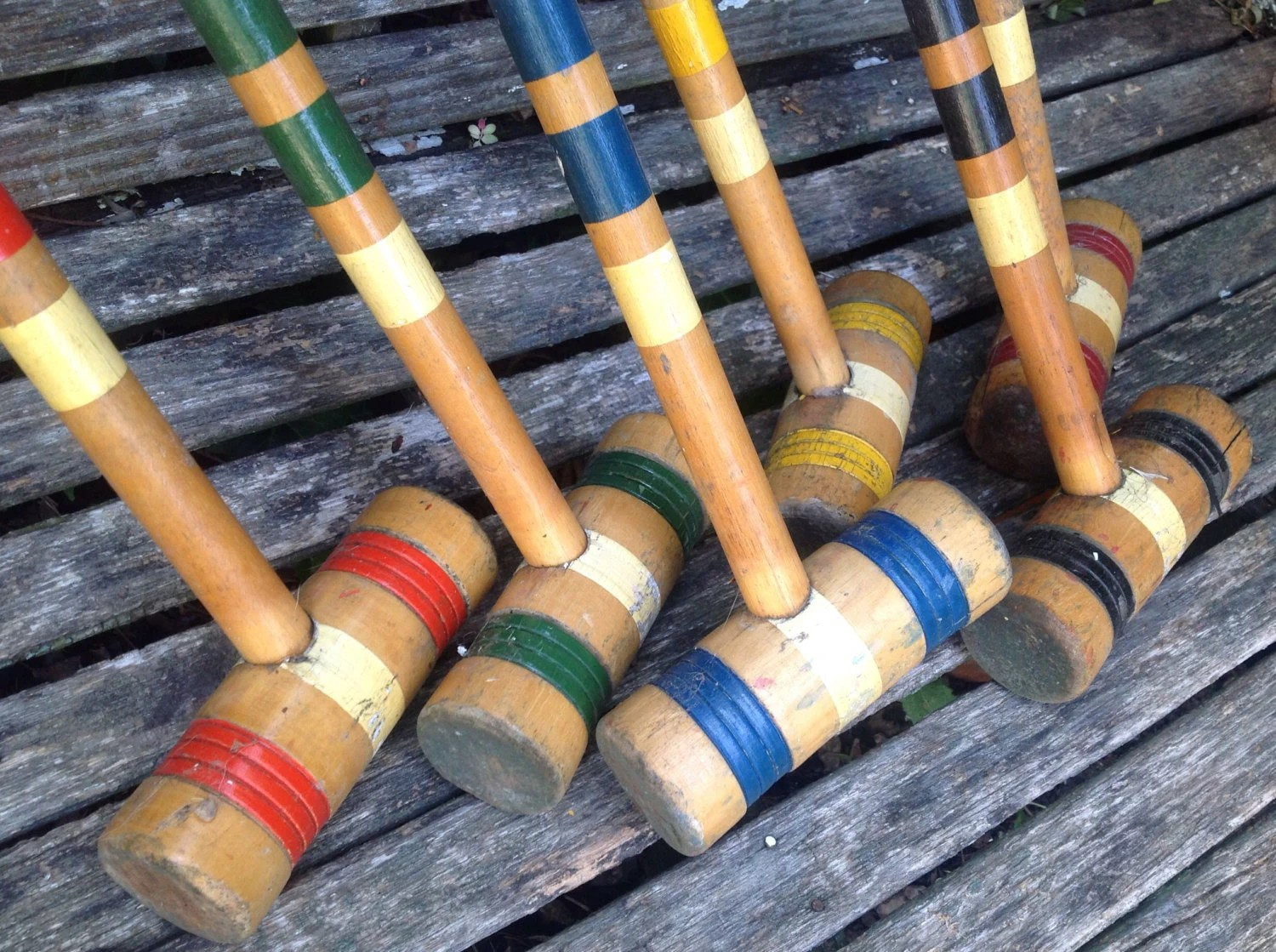 Set Of 6 Vintage Colorful Wooden Croquet Mallets In Various