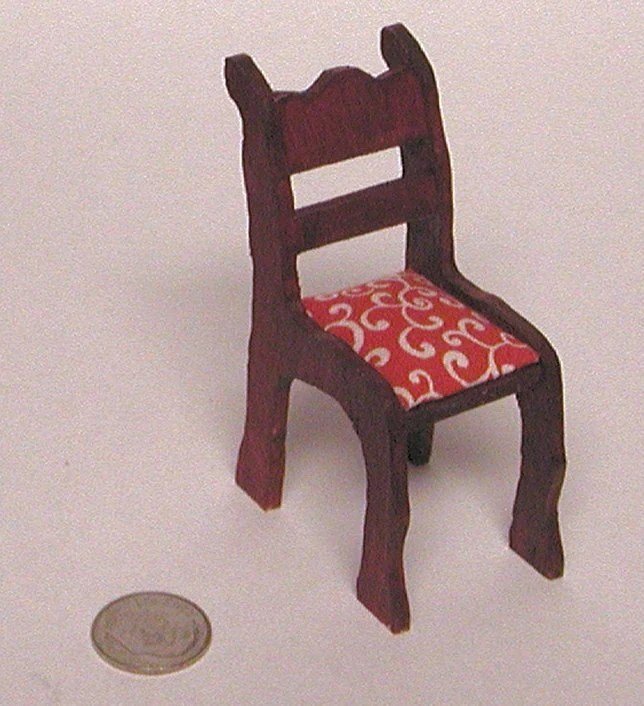 Cherry colored straight chair with red upholstered seat. 12 inch dollhouse scale miniature.  Hand made in the USA. - AuntElliesMiniatures