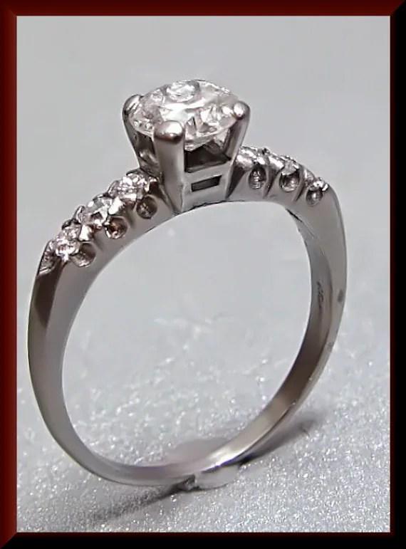Antique Vintage 1950s Platinum Diamond Engagement Ring