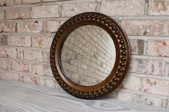 Old Round Mirror Metal Bronze Finish Framed By Carouselandfolk