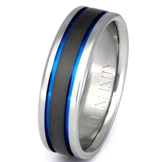 Titanium Wedding Band Thin Blue Line Ring Custom Ring