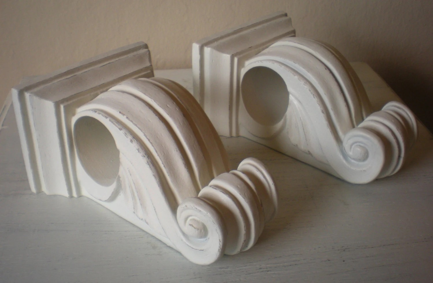 Curtain Rod Bracket Holder Shabby Heirloom White