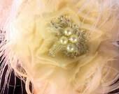 Bridal Head Piece, Bridal Fascinator, Wedding Silk Flower, Bridal Flower Hair clip, 1920s Headpiece, Great Gatsby