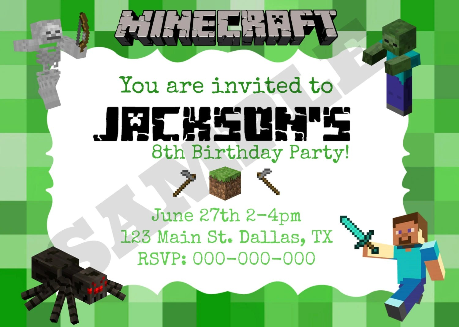 image regarding Printable Minecraft Birthday Invitations named Minecraft Get together Invites Template. 1000 photographs around