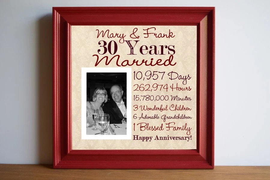 Wedding Anniversary 30th Wedding Anniversary Gift By