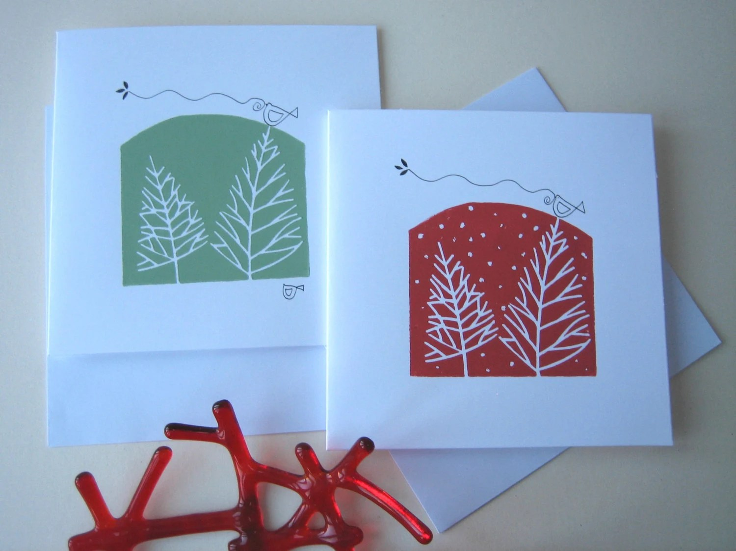 Set Of Two Handmade Linocut Cards Winter Trees And Snow