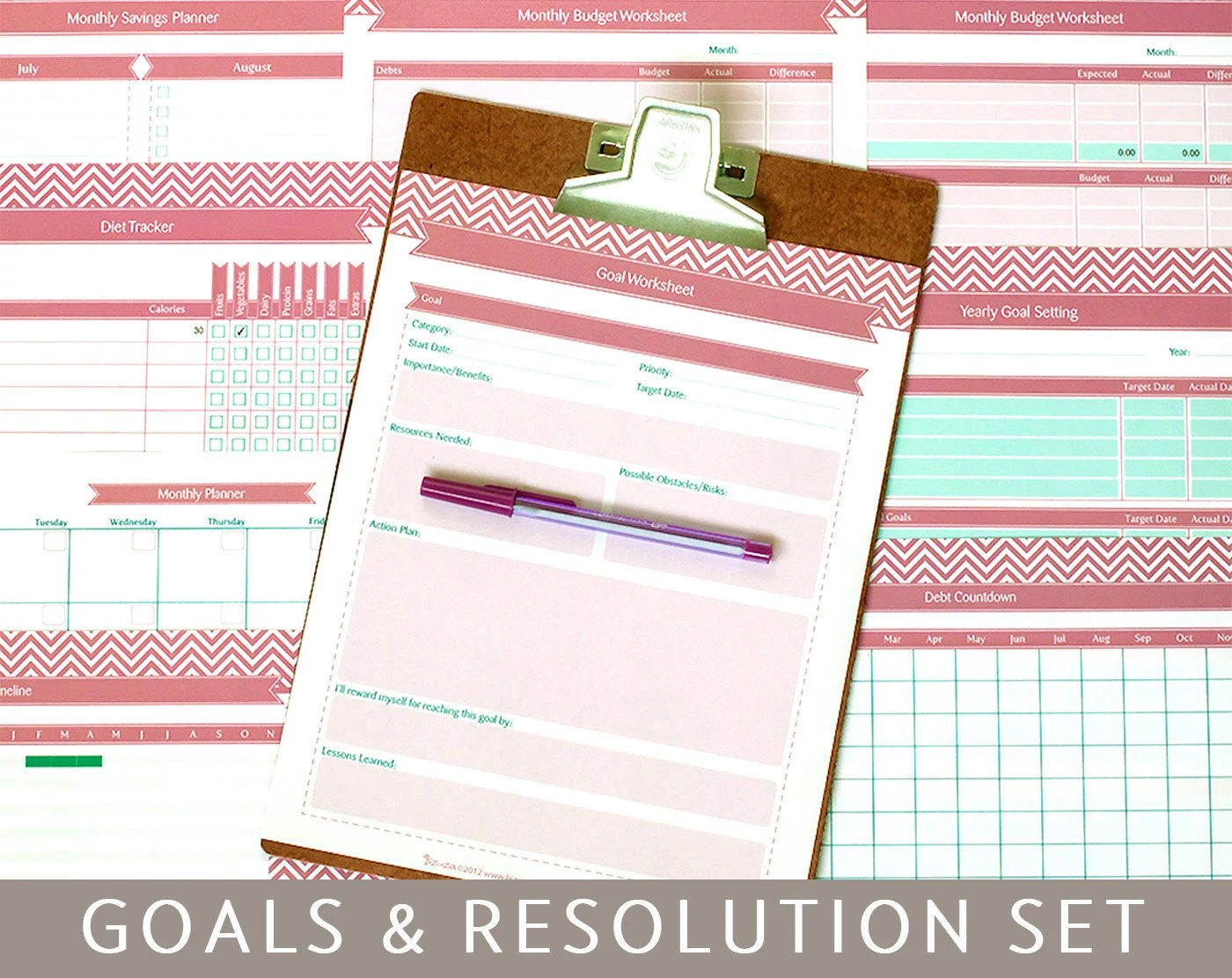 Goals Planner Amp New Year S Resolutions 9 Printable