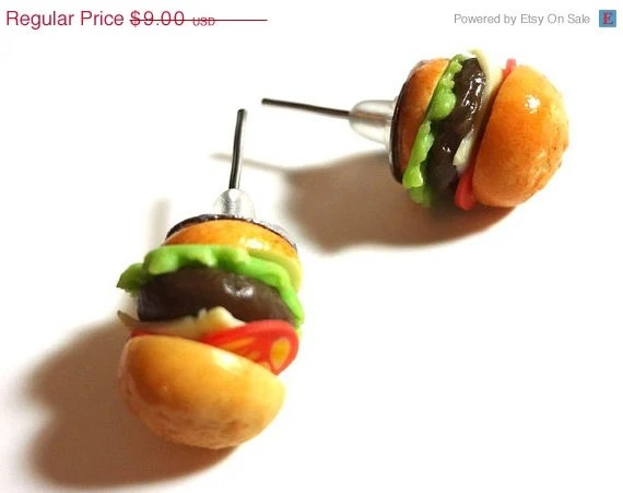 Spring Clearance - Hamburger Earrings - Polymer Clay Miniature Food Posts - Glamour365