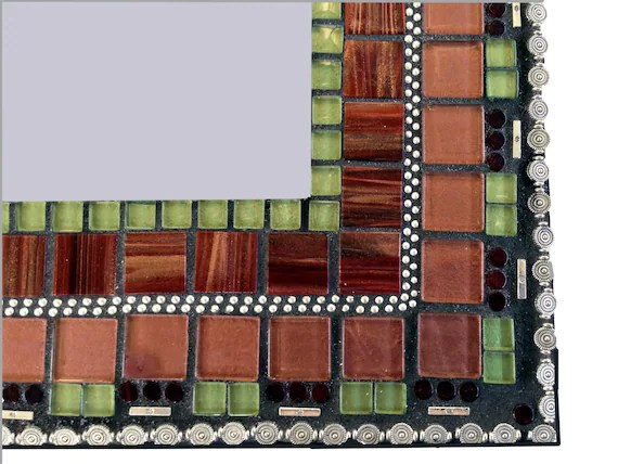 Mosaic Wall Mirror In Bronze Maroon Green And Silver Wall