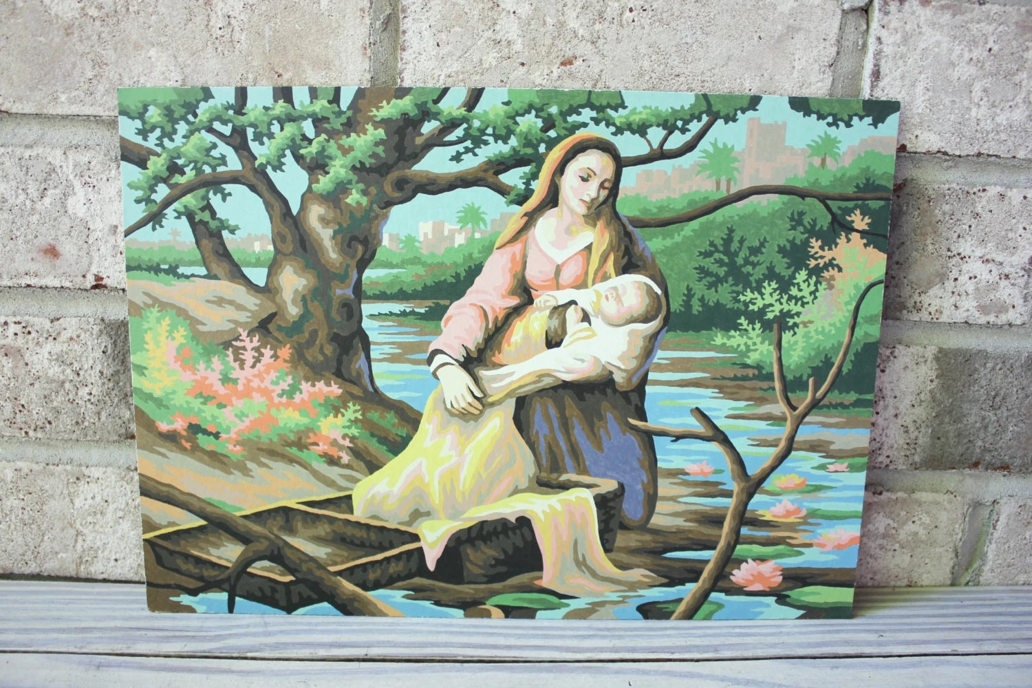 Vintage Paint By Number Pbn Religious Baby Moses Basket