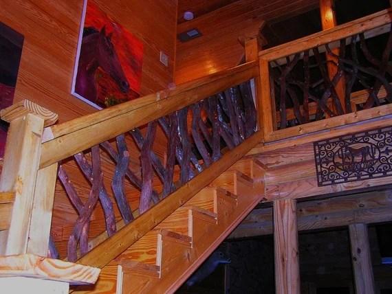 Rustic Interior Stair Railing Rails Porch Decor Log Cabin   Rustic Stair Railings Interior