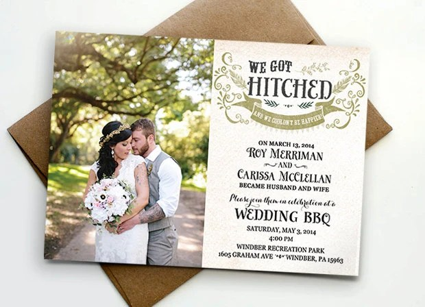 Post Wedding Reception Invitation We Got Hitched By