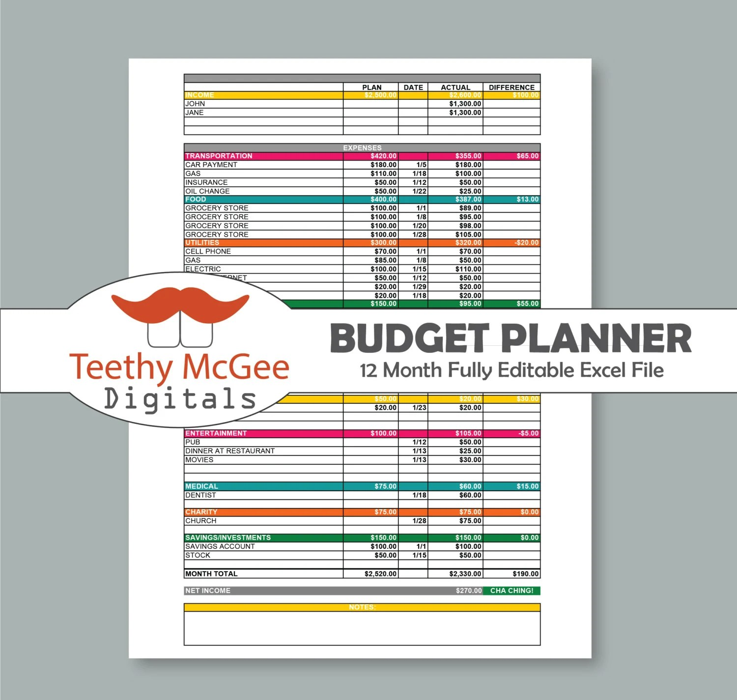 12 Month Budget Planner Amp Expenses Tracker Kit Instant