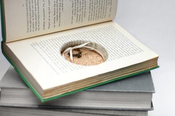 Hollow Book Wedding Ring Box Handmade Green Vintage Book