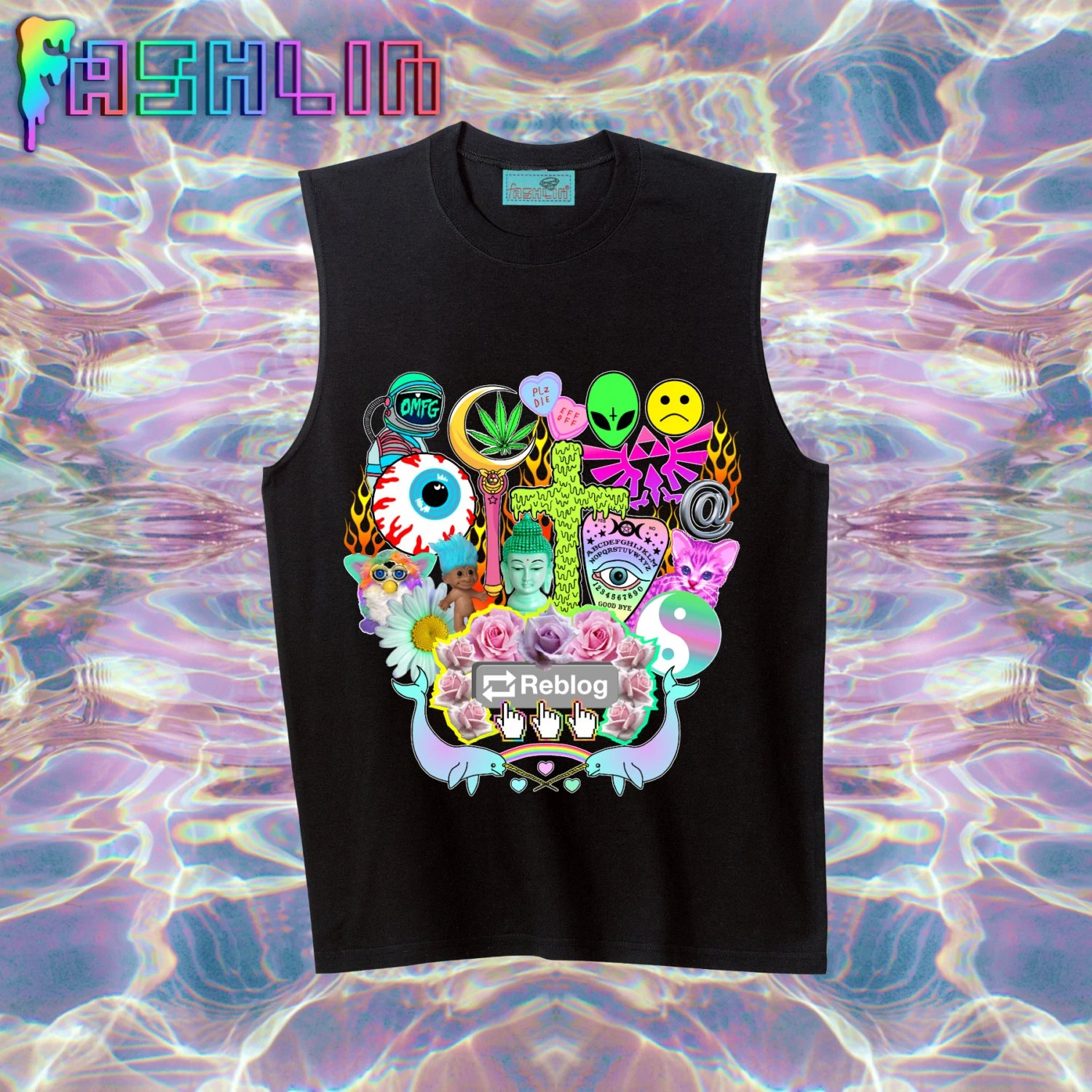 UNISEX Reblog 90s Kawaii Seapunk Tumblr Muscle Tee in Black // Pastel Grunge // Sailor Moon x Zelda // fASHLIN
