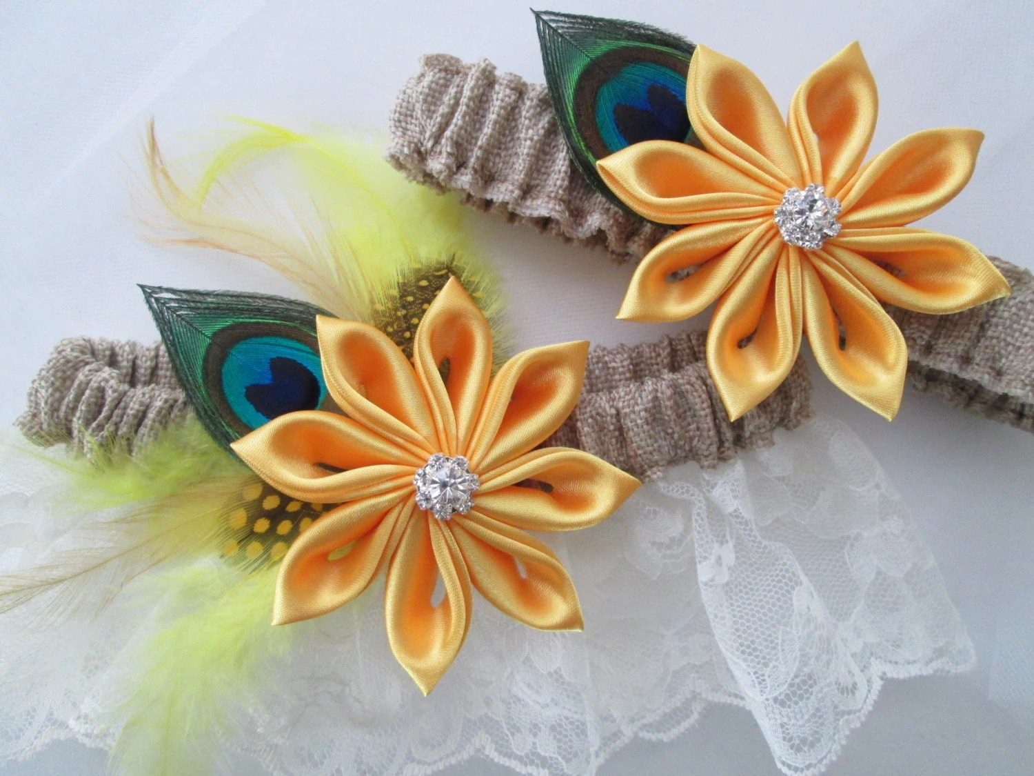 BURLAP & Lace Rustic Wedding Garter Set Yellow Daisies