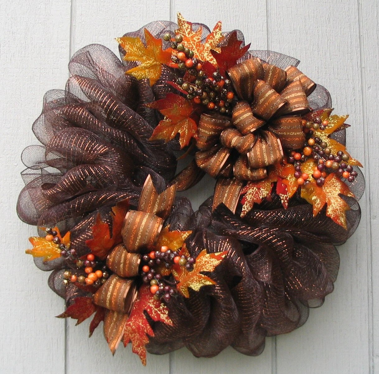 Luxurious Brown Metallic Deco Mesh Fall By Wreathswithclasses