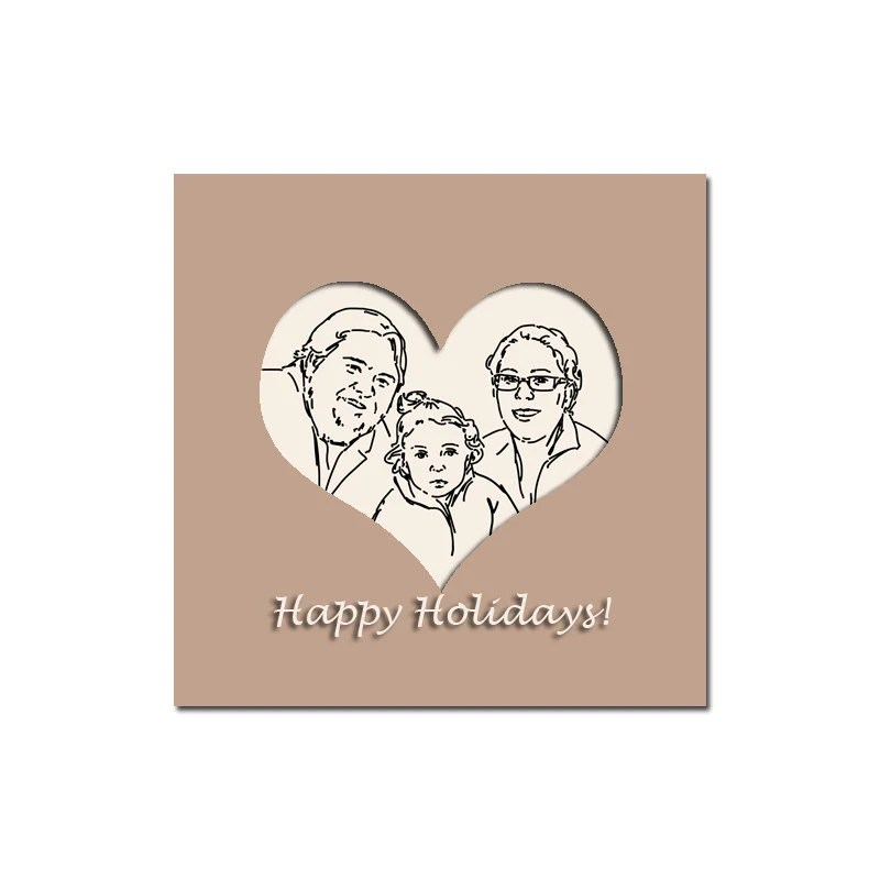 Holiday Cards Minimalist Drawing portraits from photos Commission Hand drawn Illustration Custom Family Children Portrait Heart Beige Brown - microuniverse