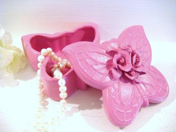 Butterfly Trinket Dish Girls Jewelry Box Flower Girl Gift