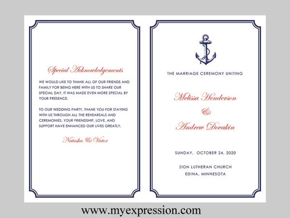 Items Similar To Wedding Program Template Nautical Navy