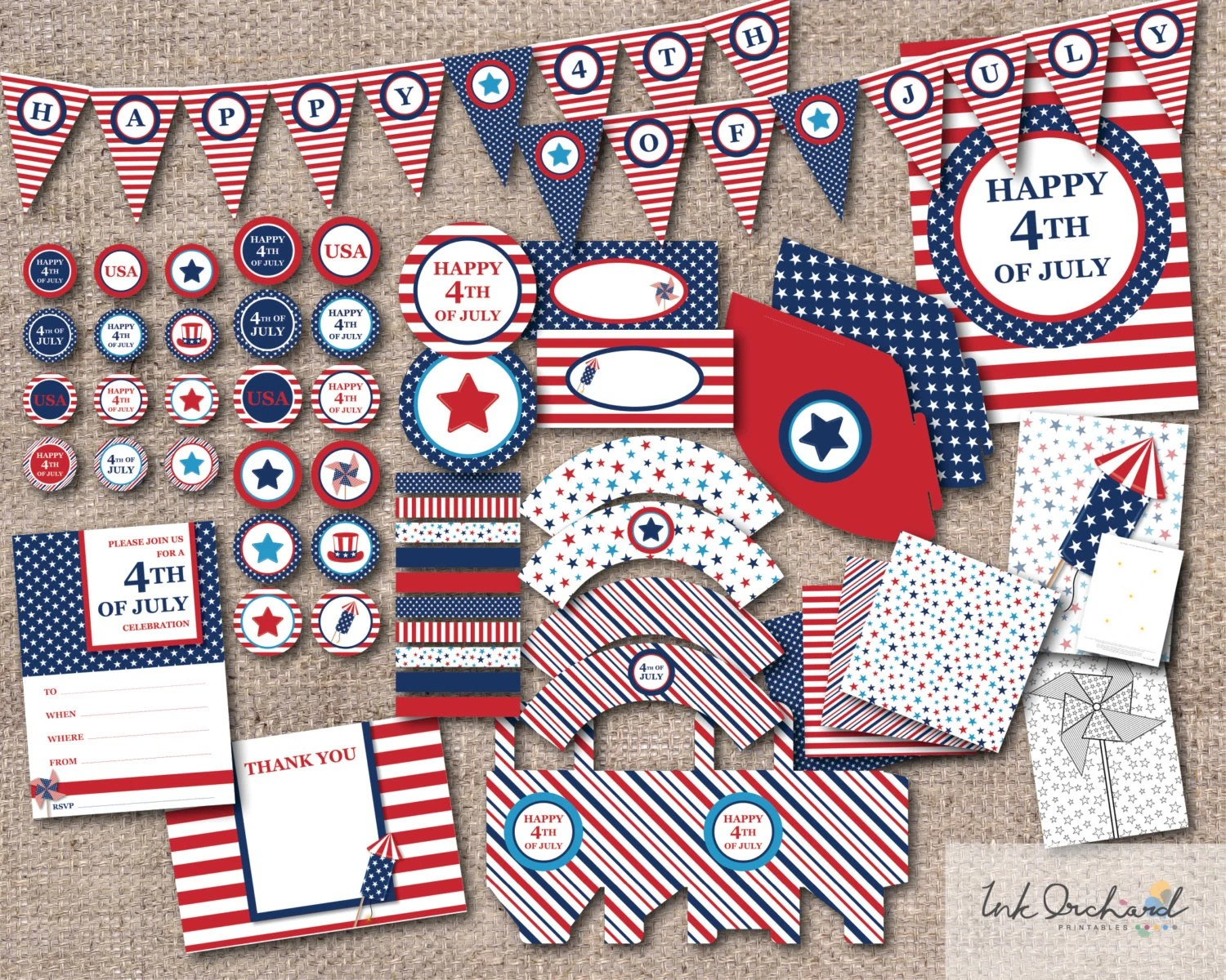 Instant Download 4th Of July Printable Party Pack