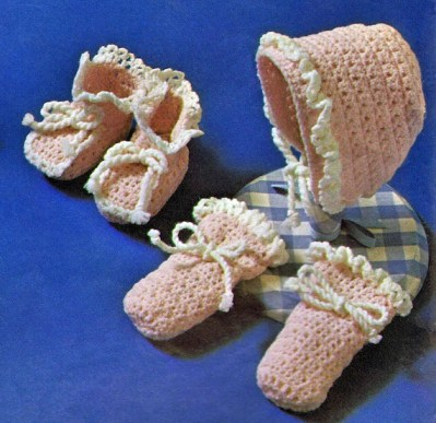 holiday gift to make Vintage Crochet Patterns Ruffled Baby Bonnet Oxford Style Bootees Mittens W Ribbon or Crocheted Ties Instant Digital PDF Download
