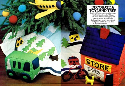 Vintage Soft Sculpt Toyland Village Sewing Pattern Christmas Tree Skirt Candy Store Truck Airplane Bike Pattern Instant Digital PDF Download