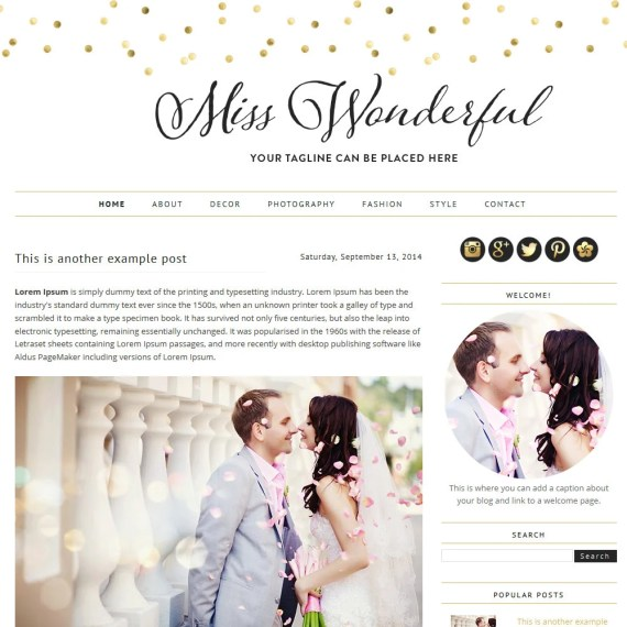 Premade Blogger Template - Miss Wonderful - Blogger Template - blogger theme - blog design - blogger blog template- blog template