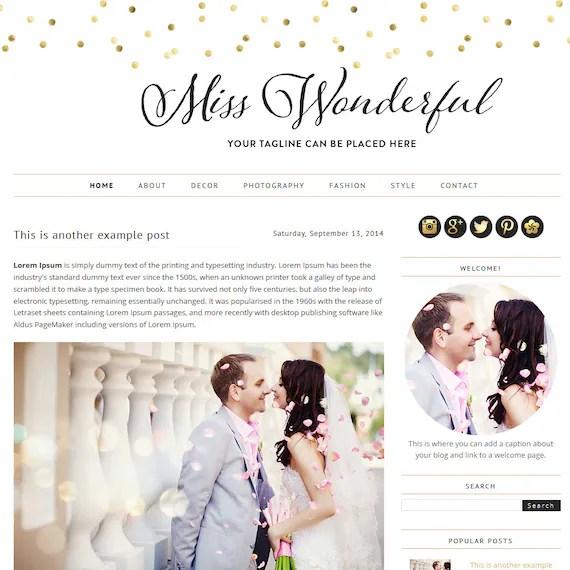 Premade Blogger Template - Miss Wonderful - Blogger Template - blogger theme - blog design - blogger blog template- blog template