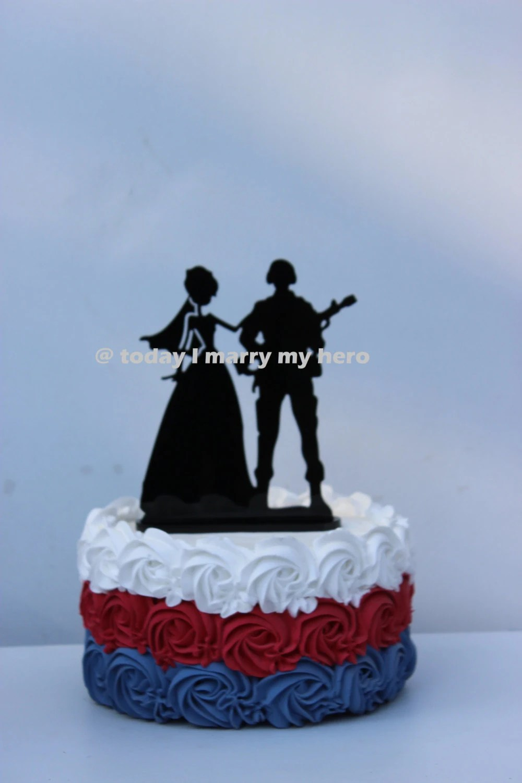 Military Army Soldier Wedding Cake Topper Groom Gun