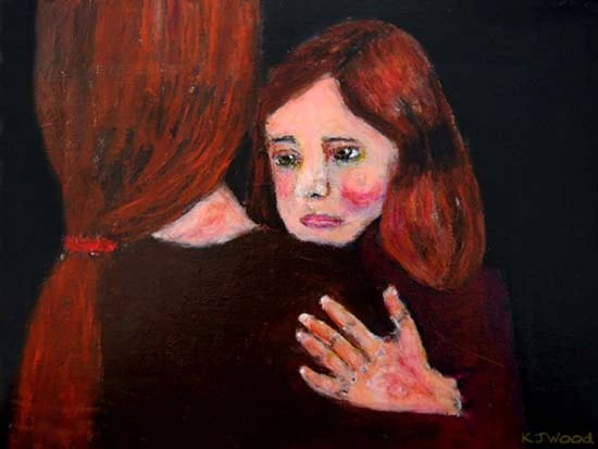 9x12 Matte Print, Please Don't Go, Little Girl Hugging Her Mother, Red hair, Ponytail, Black background