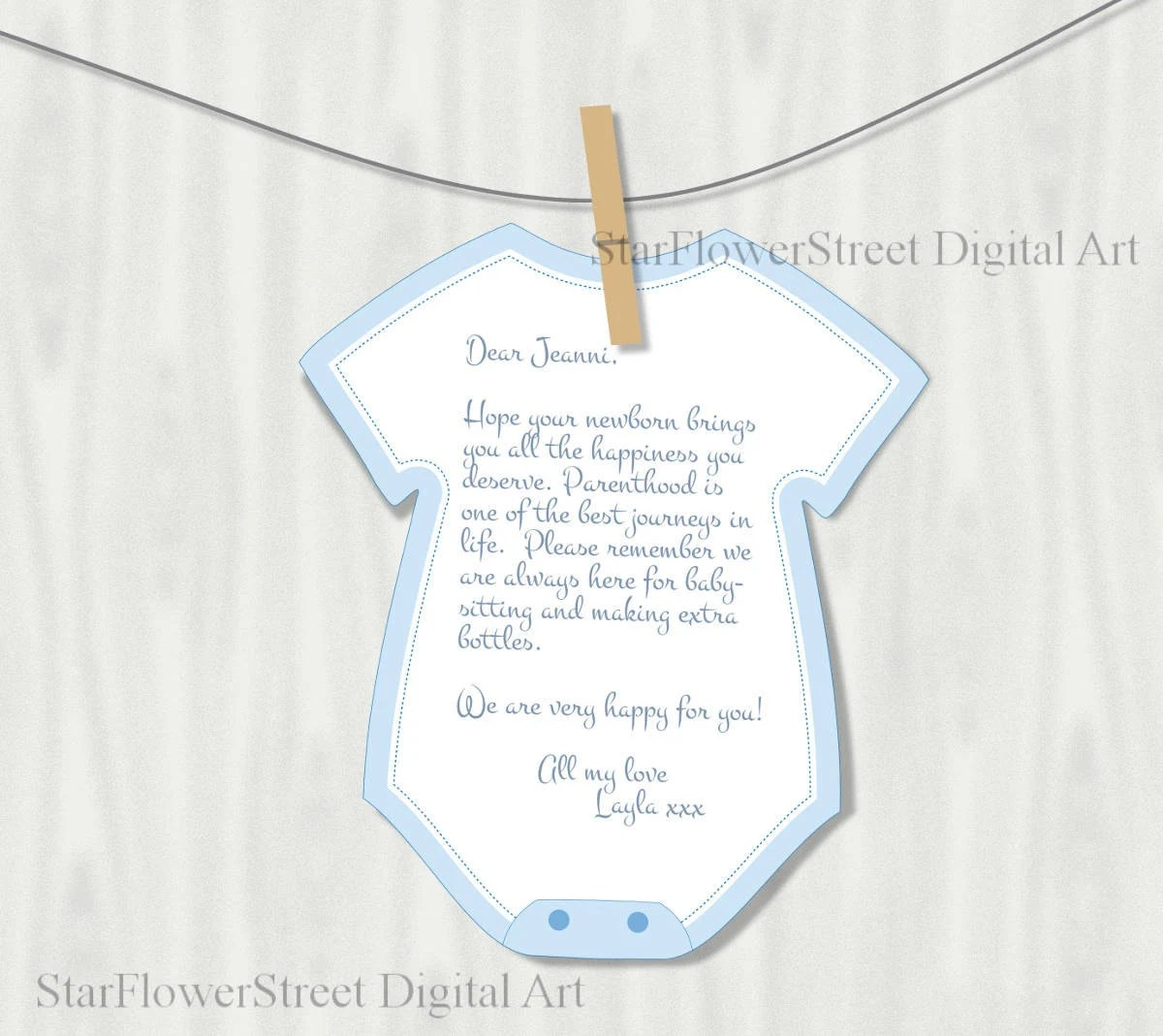 Printable Onesie Cutout Wishes For Baby Boy By Starflowerstreetda