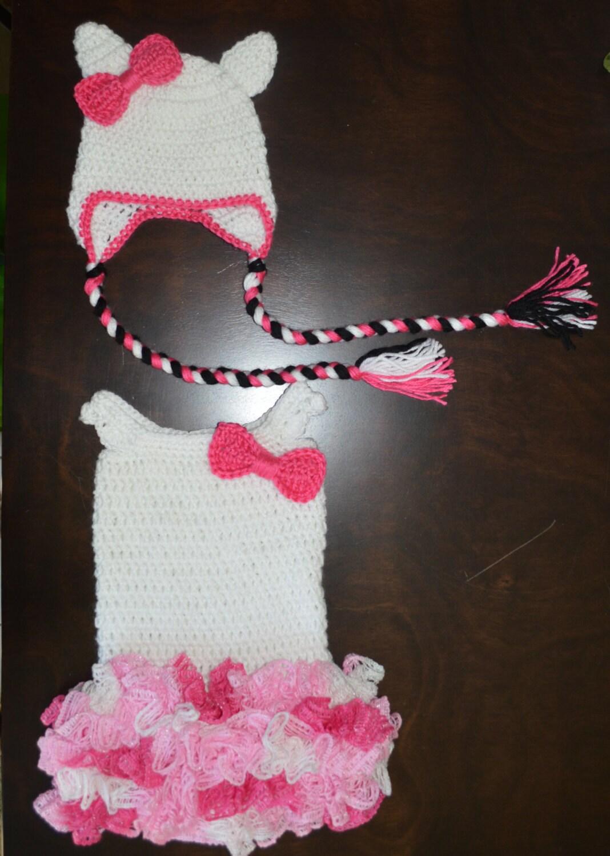 Crochet Pink Amp Whitetutu Dress With Matching White Cat Hat