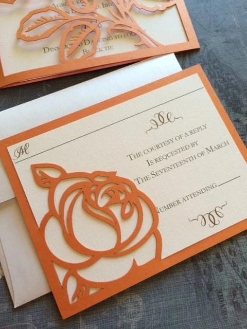 Laser Cut Wedding Invitations Monogram Rose By CelineDesigns