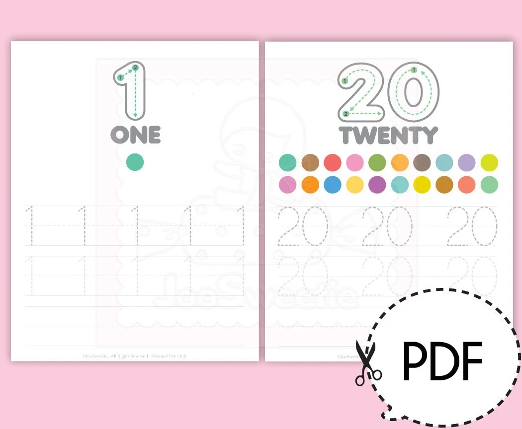 Number 1 20 Writing Practice Sheets Printable Download From Joosweetietoo On Etsy Studio