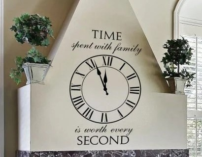 Time Spent With Family WW268 Roman Clock Wall Lettering