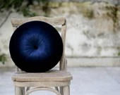 Navy blue velvet round pillow