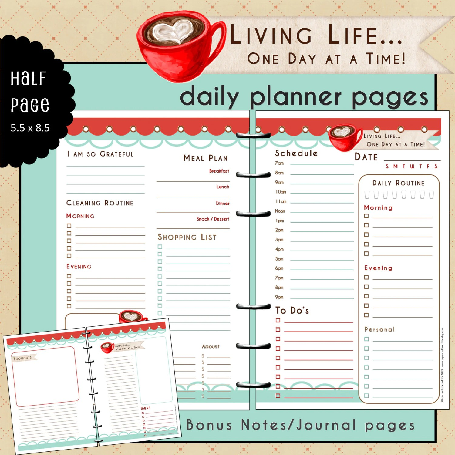 Half Page Undated Daily Planner Refill Inserts Living Life